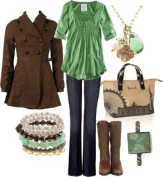 """""""brown and turquoise"""" by lagu on Polyvore"""