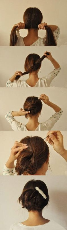 25 Lazy Girl Hair Hacks - A DIY updo hairstyle. Simply split, knot, twist, and pin. Lazy Girl Hairstyles, Easy Hairstyles, Wedding Hairstyles, Summer Hairstyles, Beautiful Hairstyles, Feathered Hairstyles, Bouffant Hairstyles, Everyday Hairstyles, Stylish Hairstyles
