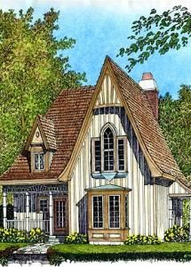 Small French Country Cottage House Plans 3 bdrm 11/2 bath shelter-kit home. it's a little house with a nice