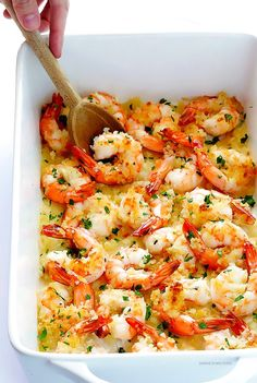 You will love this crunchy Garlicky Shrimp Bake recipe! Delicious and ready to serve in about 20 minutes! The perfect weekday meal!