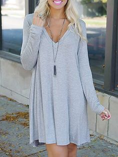 Simple Plunging Neck Long Sleeve Pure Color Dress For Women Formal Dresses For Women, Cute Dresses, Casual Dresses, Short Dresses, Casual Outfits, Fashion Dresses, Cute Outfits, Dress Long, Grey Dresses