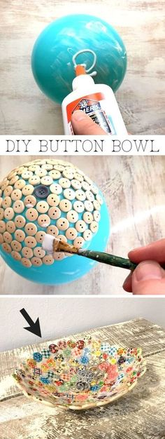 Easy and cheap craft ideas for kids and adults. I love this button bowl using just a balloon, buttons and glue! It's perfect for keys, jewelry or to sell!