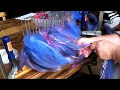 Making an Art Yarn, Dyeing, blending on a hackle, and spinning