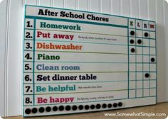 "After school Chores chart.  We need to change up our current one to re motivate. I like the ""Be happy"" part."