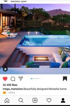 Fire pit with outdoor sunken lounge, next to the swimming pool. Fire pit with outdoor sunken lounge, next to the swimming pool. Sunken Fire Pits, Diy Fire Pit, Outdoor Pergola, Pergola Plans, Modern Pergola, Pergola Ideas, Timber Pergola, Pergola Carport, Pergola Swing