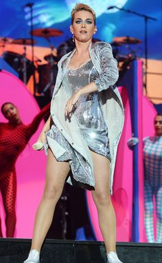 KATY PERRY teams a Glistening Silver Sequin Mini Dress with a Matching Overcoat to perform at BBC Radio's Big Weekend 2017 in Hull, England.
