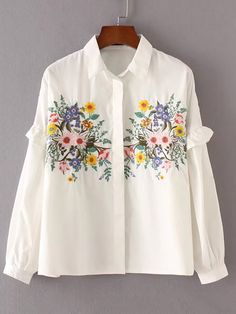 2018 Autumn Women Floral Embroidery Blouse Frill Long Sleeve Turn-down Collar Casual Shirts Streetwear Loose Blouse Embroidered Clothes, Embroidered Blouse, Embroidered Flowers, Western Outfits, Boho Outfits, Fashion Outfits, Shirt Embroidery, Floral Embroidery, Simple Outfits For Teens