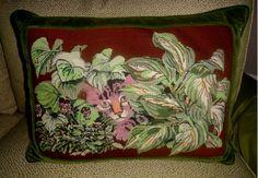 Pink Cat Needlepoint Pillow- Home & Garden Design Ideas
