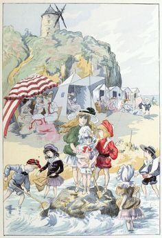 They were far away enjoying parties on the sand. By Albert Robida, 1904
