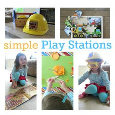 Perfect for rainy days with toddlers! Play LONGER with easy themed play stations.