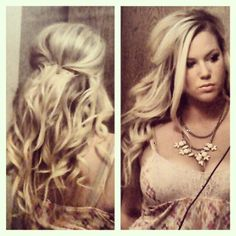 half updo hair style makeup necklace country girl teased curly Loose Wedding Hair, Wedding Hair And Makeup, Hair Makeup, Half Updo Hairstyles, Wedding Hairstyles, Country Girl Hairstyles, Country Attire, Hair Game, Hair Care Tips