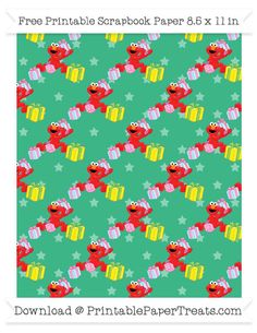 Free Mint Green Star Large Elmo Gifts Pattern Paper - Sesame Street