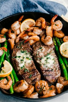 Garlic Butter Surf and Turf Skillet. Just Say Yum. Rich creamy garlic butter com… Garlic Butter Surf and Turf Skillet. Just Say Yum. Rich creamy garlic butter combined with grilled steak, shrimp, and scallops. Seared Salmon Recipes, Grilled Steak Recipes, Grilled Meat, Grilling Recipes, Seafood Recipes, Cooking Recipes, Grilled Steaks, Vegetarian Grilling, Healthy Grilling