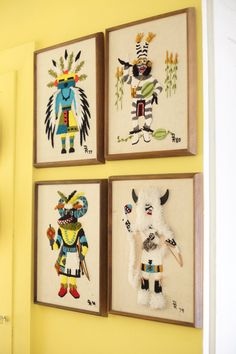 Adam's Eclectic Vintage Bungalow. Love this fuzzy, vintage Native American framed wall art.
