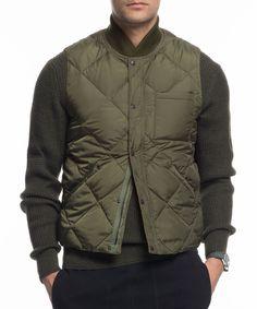 Liner Down Vest In Olive