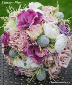 Brides bouquet. Vintage wedding flowers, posy, bridal bouquet, silk wedding flowers