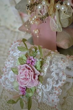 Lace, roses, pearls, ribbon.....This is just so pretty and feminine!