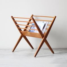 danish modern wood magazine rack / AM radio