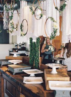 chic rustic greenery wedding dessert table decoration ideas