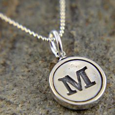 Letter M  Necklace - Sterling Silver Initial Typewriter Key Charm Necklace - Gwen Delicious Jewelry Design via Etsy