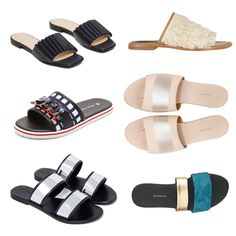 Fancy Slides Not Meant for the Shower: Sol Sana Evie leather sandals, The Palatines Caelum slide sandal with stripe, Opening Ceremony Mazzy slide, Newbark Roma III slides, Mother of Pearl pool slides, and Tibi Jack slides.