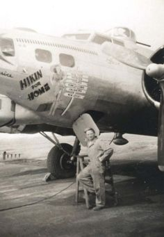 My grandpa with the B-17 Hikin' for Home | WWII Nose Art