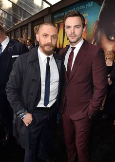 Tom Hardy and Nicholas Hoult at the premiere of Warner Bros. Pictures' 'Mad Max: Fury Road' at TCL Chinese Theatre on May 7, 2015 in Hollywood, California.