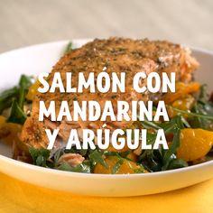 Salmón con mandarina y arúgula - Ruin Tutorial and Ideas Salmon Recipes, Veggie Recipes, Healthy Recipes, Healthy Cooking, Healthy Eating, Cooking Recipes, Ground Beef Recipes Easy, Good Food, Yummy Food