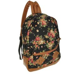 Amazon.com: Generic muchacha de las mujeres de señora Vintage Flower Book Campus del morral del bolso de escuela lindo (Negro): Beauty