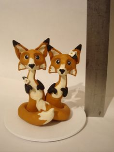 Red Fox Wedding Cake Topper by Little