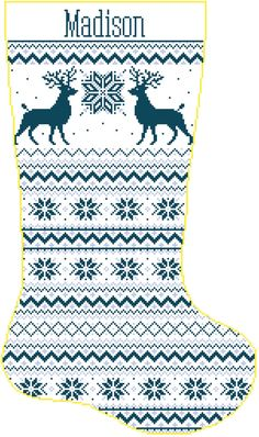 Cross Stitch Christmas Stocking Band Reindeer and by SherrysHouse