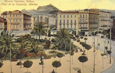 Omonia Square looking towards Lykavettos. Panapistimiou Street is in the middle and Stadiou is on the right. Greece Pictures, Old Pictures, Old Photos, Old Greek, Greece Wedding, Paris Skyline, Beautiful Places, Island, History