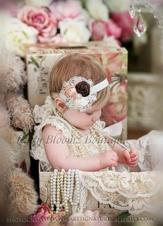Baby Headband Lace flower headband newborn by BabyBloomzBoutique, $9.95