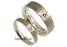 You & Me Forever Fingerprint Wedding Band Set in by fabuluster