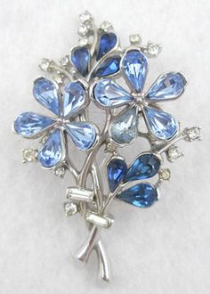 Trifari Blue Teardrop Floral Brooch - Garden Party Collection Vintage Jewelry