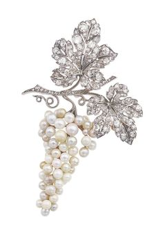 Brooch in Platinum with White Diamonds with Saltwater Pearls by Van Cleef and Arpels