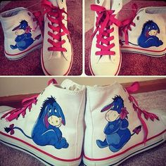 Shoes: Eeyore High-Top Sneakers (Disney's Winnie the Pooh) Painted Converse, Painted Canvas Shoes, Hand Painted Shoes, Painted Hats, High Top Sneakers, Cute Sneakers, Vans Shoes Fashion, Converse Shoes, Cute Converse Outfits