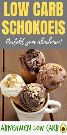 Delicious low carb chocolate ice cream to make yourself. - Delicious low carb chocolate ice cream to make yourself. Low Carb Desserts, Healthy Dessert Recipes, Low Carb Recipes, Low Carb Granola, Low Carb Chocolate, Chocolate Ice Cream, Low Carb Cookies, Low Carb Breakfast, Evening Meals