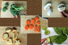 """""""Vegetable Stamping"""".....Firm fruit such as apples, pears, and star fruit make stamps that need no carving. Slice the apple or pear in half through the stem, blot it dry if juicy, and brush the halves lightly with paint. The resulting stamp will be in the shape of a pear or apple. Potatoes and carrots can also be hand carved for stamping. Stamps made from fruit or vegetables need to be used immediately before they dry out making it difficult to get a crisp image."""