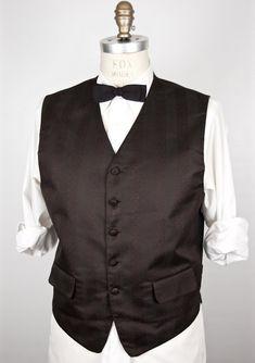 b255deee6221 Brocade-like Black Pattern Vest / Mel Howard tuxedo vest, wedding waist  coat / formal tux waistcoat / jacquard suit vest / men's medium