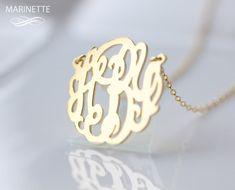 Monogram-Halskette - 1 Zoll personalisierte Monogramm - Sterlingsilber 18 Karat gold plattiert - FedEx-Versand