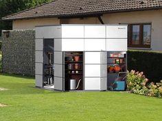 Das Gartenhaus mit seitlichem Zugriff auf Ihre Gartengeräte. Das erste blockadefreie Gartenhaus aus HPL (Trespa).