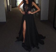 Sexy Black Split Long Formal Dress With Lace Applique, #prom, #blackpromdresses