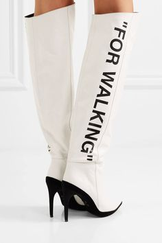 OFF-WHITE For Walking printed leather over-the-knee boots