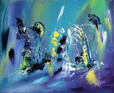 """Voici une peinture contemporaine abstraite très flashy, un style moderne de l'artiste peintre ame sauvage """"fluorescent"""" est une oeuvre contemporaine de format 46 x 38 cm"""