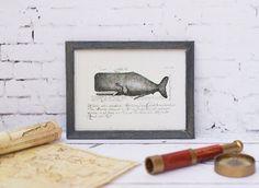 Miniature framed print whale vintage engraving 1:6 by Katjuss