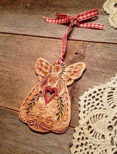 Birds And Angels Impressed Plain Glaze Sally Eato Corben  C B Ceramic Christmas Ornaments