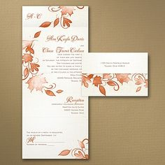 Autumn Rustic - Seal 'n Send Invitation 40% Off http://mediaplus.carlsoncraft.com/3254-TWS36214-Autumn-Rustic--Seal-n-Send-Invitation.pro Autumn is perfect for rustic weddings. A textured background and falling leaves in your choice of colors make this seal 'n send wedding invitation the perfect introduction to yours.