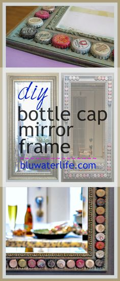On vacation in the Caribbean, I saw bottle caps used as trim on a wooden bar. I created a DIY bottle cap mirror frame to remind me of that Caribbean spot! #bottlecapideas  #mirrorframes  #bluwaterstyle