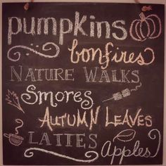 """pumpkins, bonfires, nature walks, smores, autumn leaves, lattes, apples"""